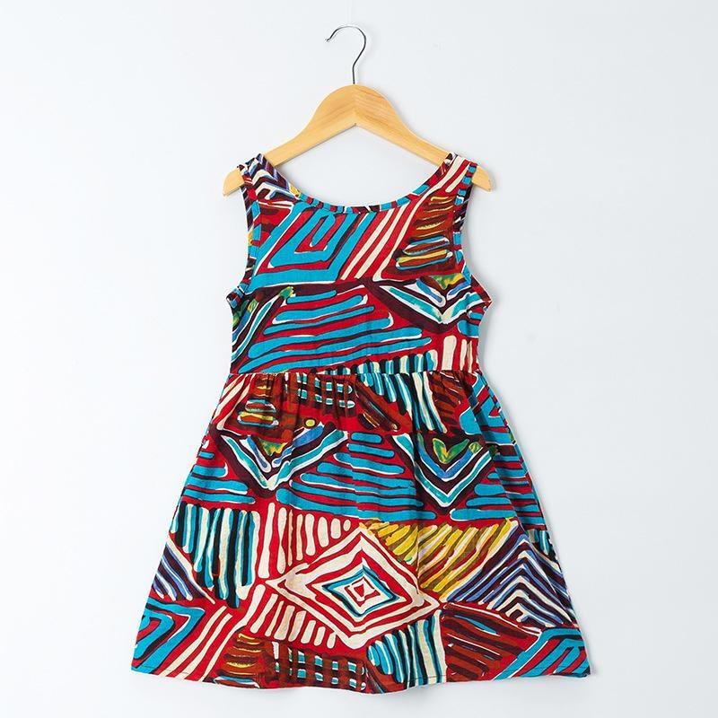 baby toddler girls multi-colour boho style cotton summer dress