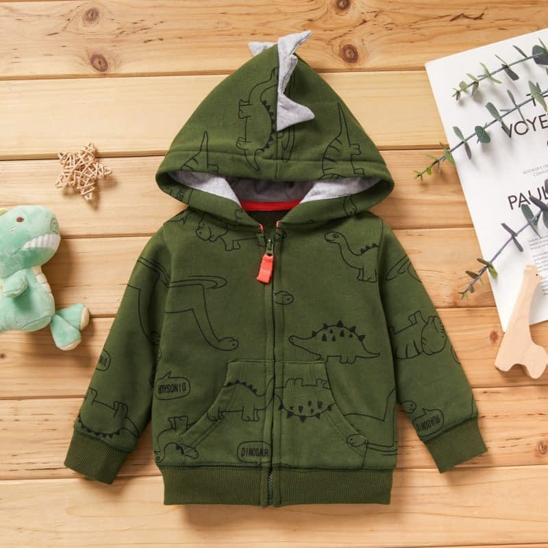 baby boys army green dinosaur hoodie top with contrasting zipper