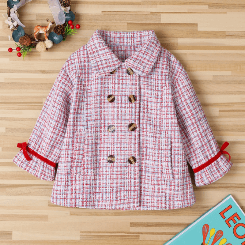 toddler and young girls red collared double breasted tweed coat with ribbon detail