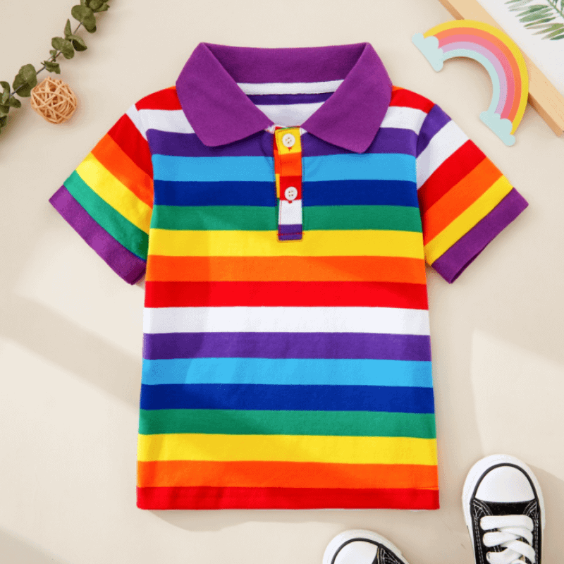 toddler and kids rainbow stripe short sleeve polo t-shirt