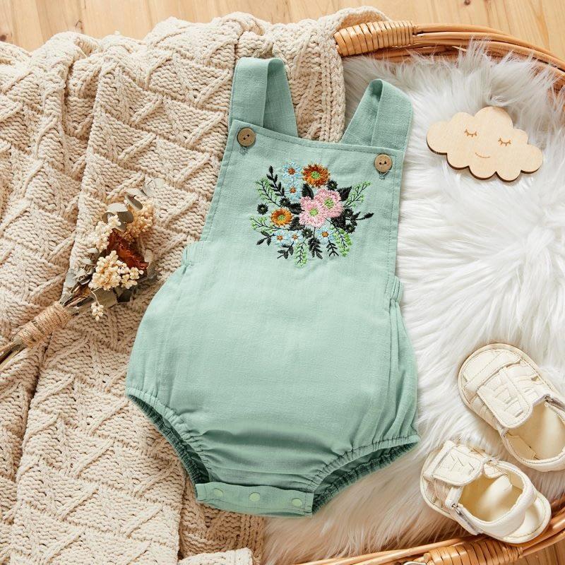 baby girls green linen floral sleeveless romper suit
