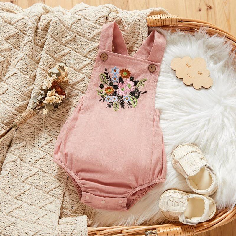 baby girls pink linen sleeveless romper suit