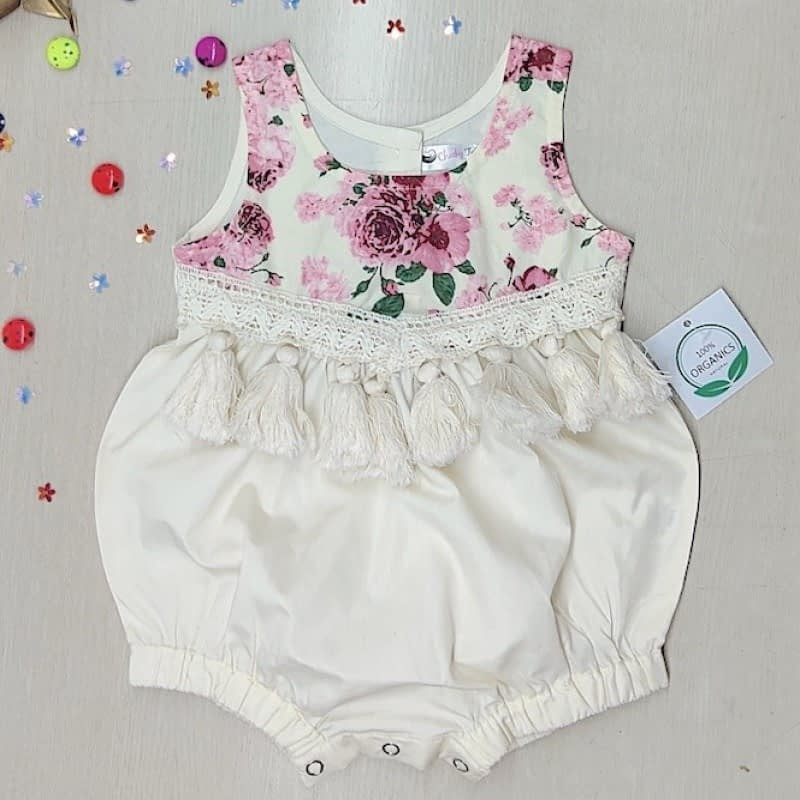 baby and toddler girls boho style floral romper with tassels and lace decor