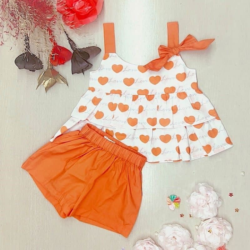 girls orange love heart and shorts matching summer outfit