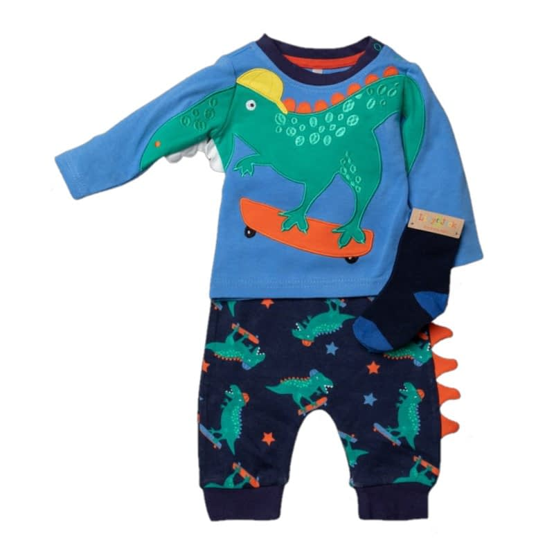 baby boys long sleeve 3d dinosaur top with matching pants and socks by lily and jack