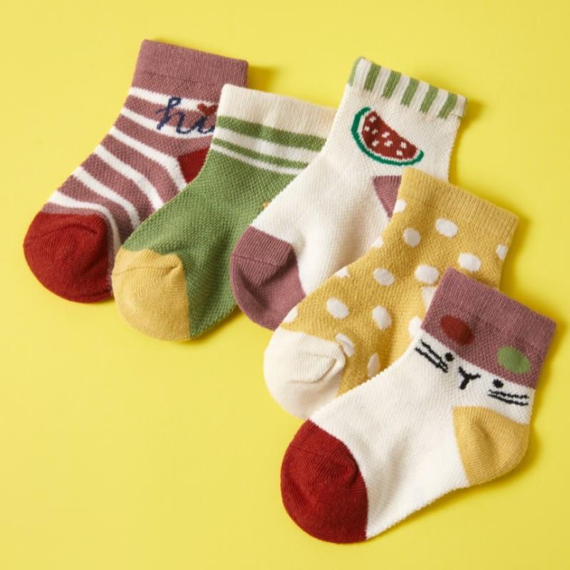 kids fruit and stripe pattern multicoloured socks pack of 5