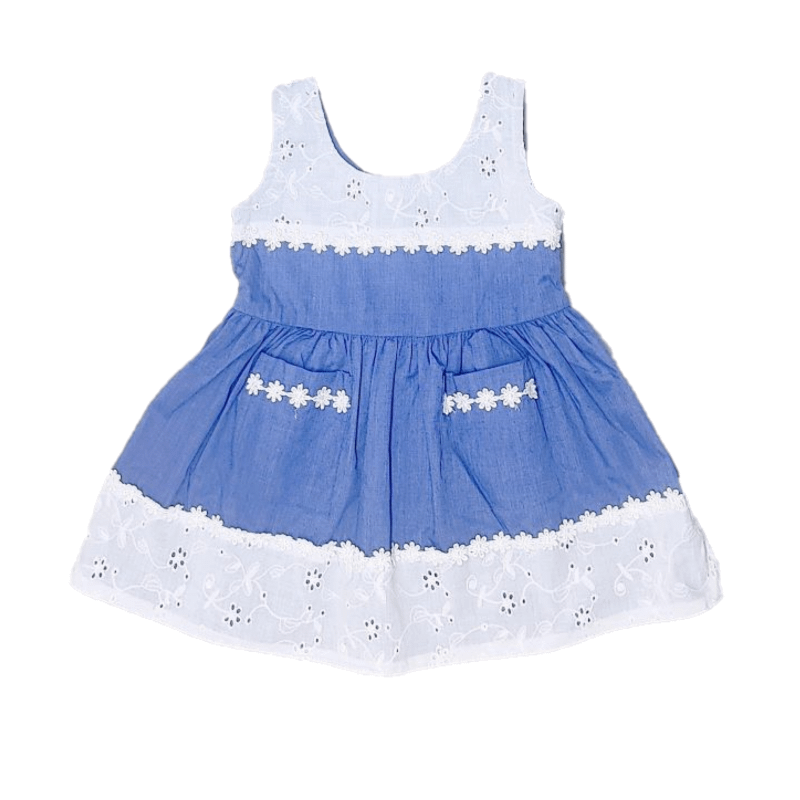 girls blue sleeveless summer dress with white daisy lace detail