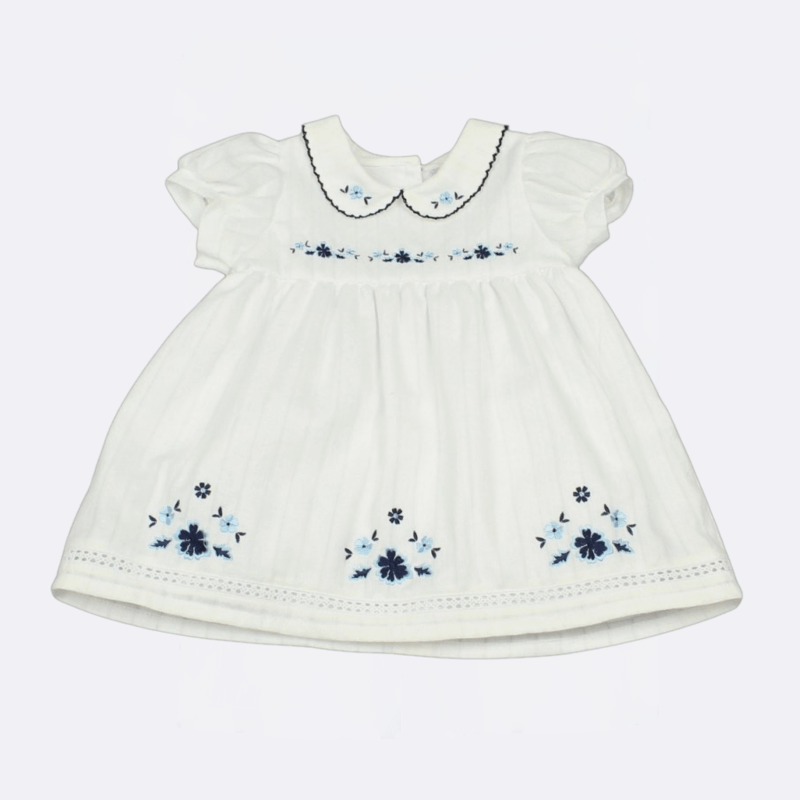 Watch Me Grow Baby Girls White lined dress with blue embroidered flowers