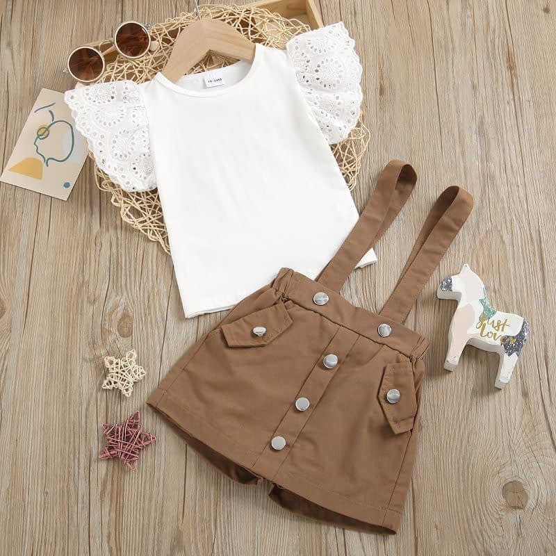 girls white top and mocha pinafore skorts outfit set