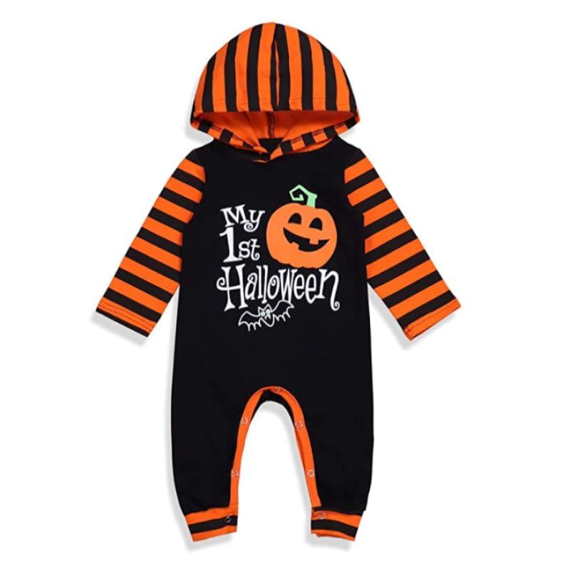 My 1st Halloween Orange & Black Striped Baby Romper with Hood