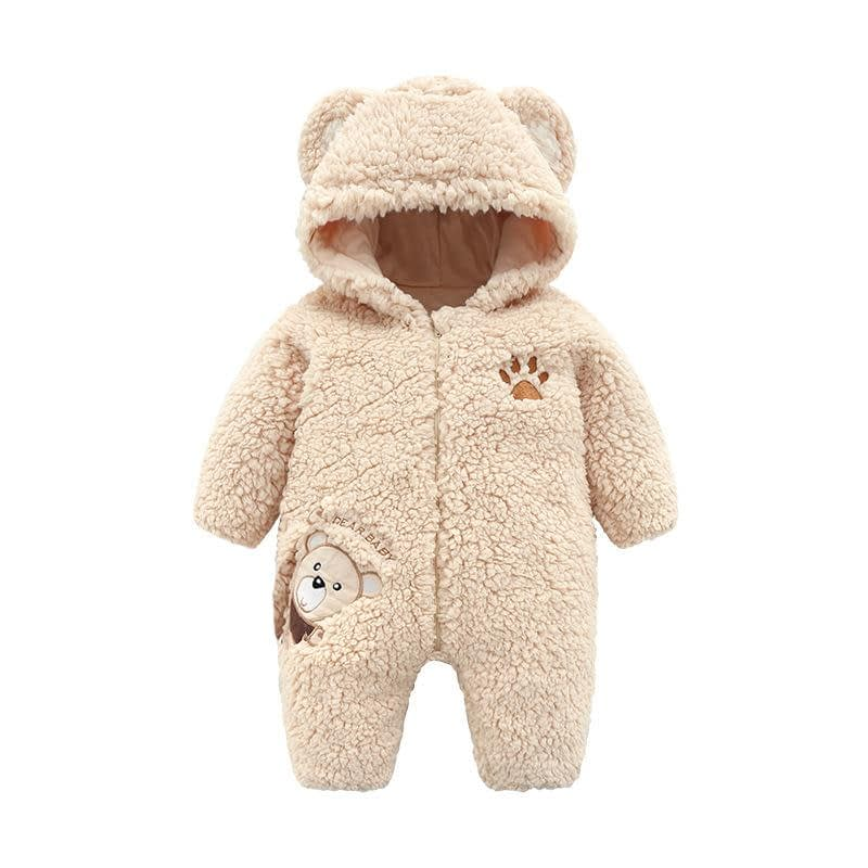 baby and toddler biscuit cosy bear zip up pramsuit